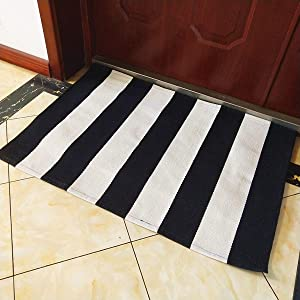 "USTIDE 100% Cotton Striped Area Rug Black&White Stripe Cotton Indoor Outdoor Rug Runner Rugs for Kitchen/Living Room/Entry Way/Laundry Room/Bedroom 27.5""X43.3"""