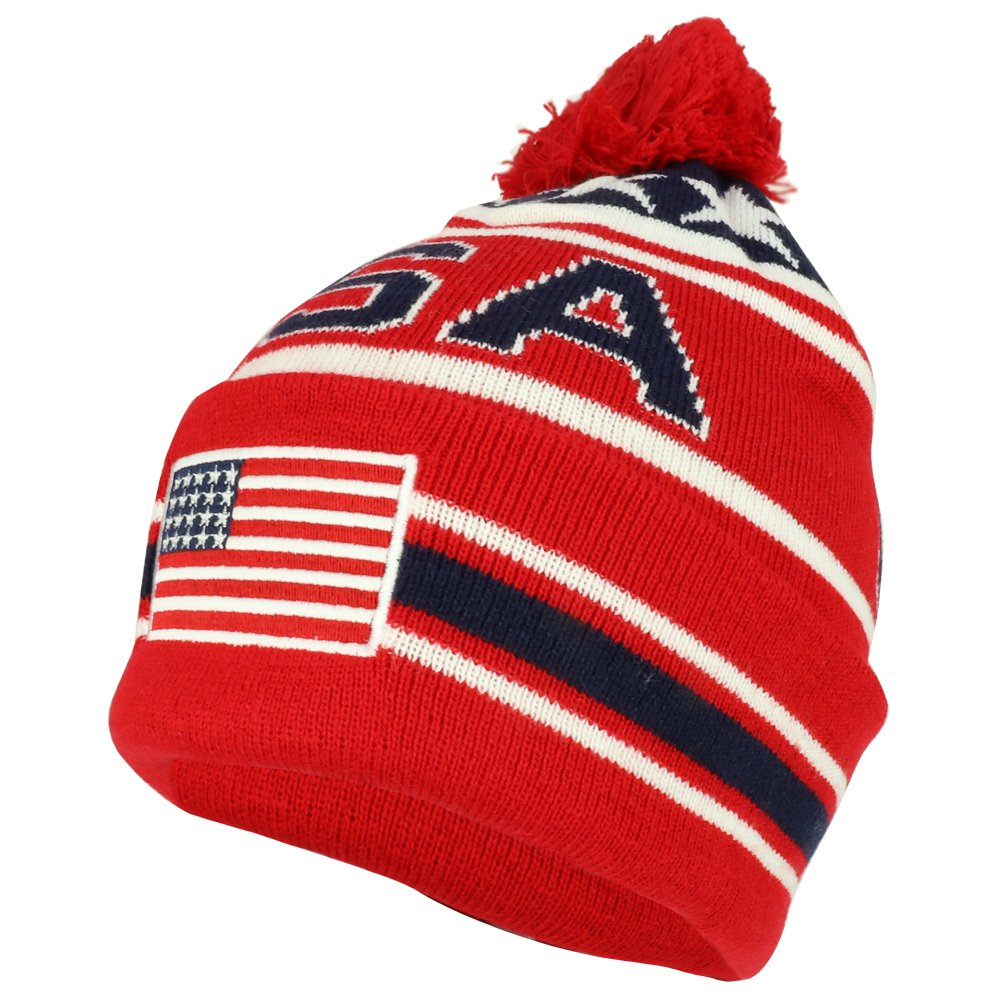 f1bc2626e28 Armycrew New USA American Flag Embroidered Pom Pom Cuff Beanie Hat WB082-USA -02 larger image