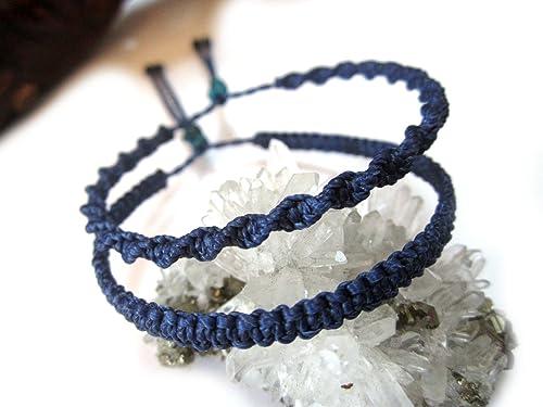 Friendship bracelet macram\u00e9 Boho statement cuff geometric double waterfall pattern design blue brightly colored ripple zigzag beach