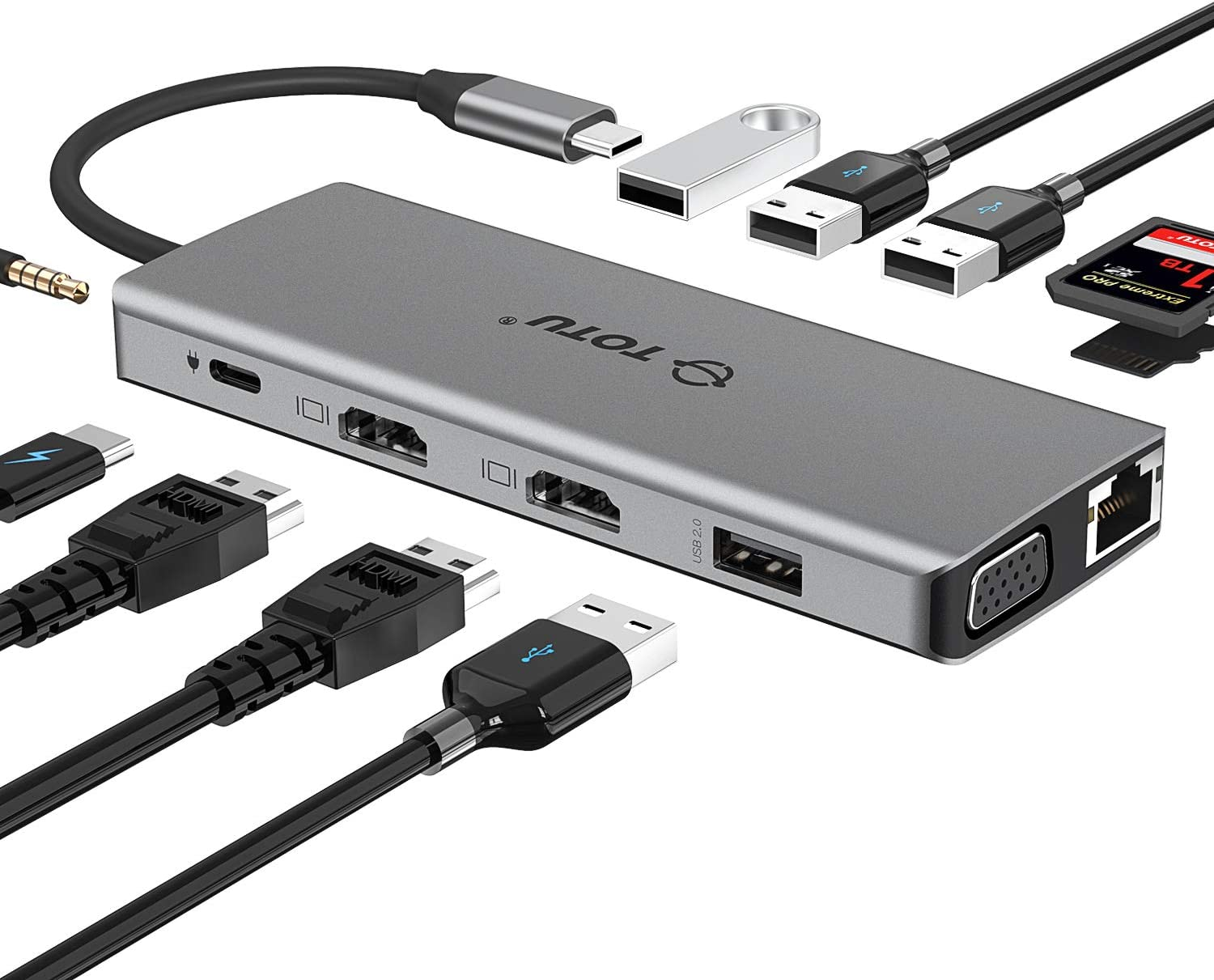 USB C Hub, TOTU 12-in-1 Type C Hub with Ethernet,4K USB C to 2 HDMI,VGA,2 USB3.0, 2 USB2.0,79W PD 3.0,SD/TF Cards Reader,Mic/Audio for Mac Pro/Type C Laptops (Windows Laptops Support Triple Display)