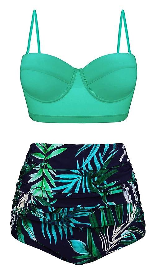 LBFKJ Bikini, Traje de Bikini de Cintura Alta Vintage, Sexy ...