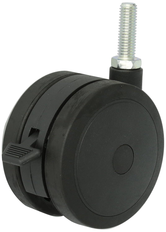 175 lbs Capacity 1//2 Diameter x 1-1//2 Length UNC13 Threaded Stem Black Finish Shepherd Ultima Series 100mm Diameter Un-Hooded Twin Urethane Wheel Caster with Brake
