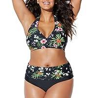 Très Chic Mailanda Bikini Taglie Forti Donna Costumi da Bagno Due Pezzi Vita Alta Plus Size Spiaggia Boemo Reggiseno Coordinati Costumi Estate