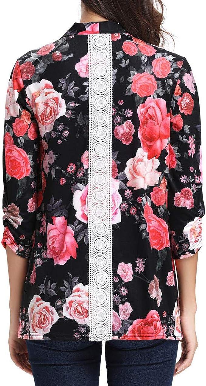 DENGZI Femmes Casual Cardigan en Mousseline de Soie /à Manches Longues en Dentelle Solide Hauts en Mousseline de Kimono