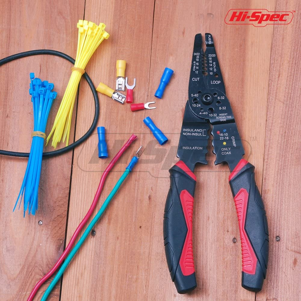 Stripping Cable and Crimping Terminals and Connections Hi-Spec 200mm Multi-Function Wire Stripper Tool for Cutting Wire /& Screws