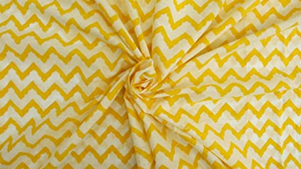 Printed Yellow Pure Cotton Fabric Dress Making Sewing Crafting Material By Metre