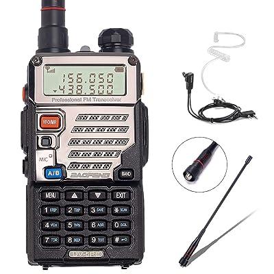 BaoFeng UV-5RE+ 8Watt Ham Radio Handheld Rechargeable with Gamtaai NA-771 Telescopic Antenna+Acoustic Tube Earpiece+2800mAh Large Battery,VHF/UHF Two Way Radio Long Range Walkie Talkies (Black): Car Electronics