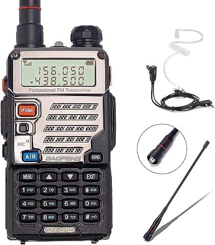 BaoFeng UV-5RE 8Watt Ham Radio Handheld Rechargeable with Gamtaai NA-771 Telescopic Antenna Acoustic Tube Earpiece 2800mAh Large Battery,VHF UHF Two Way Radio Long Range Walkie Talkies Black