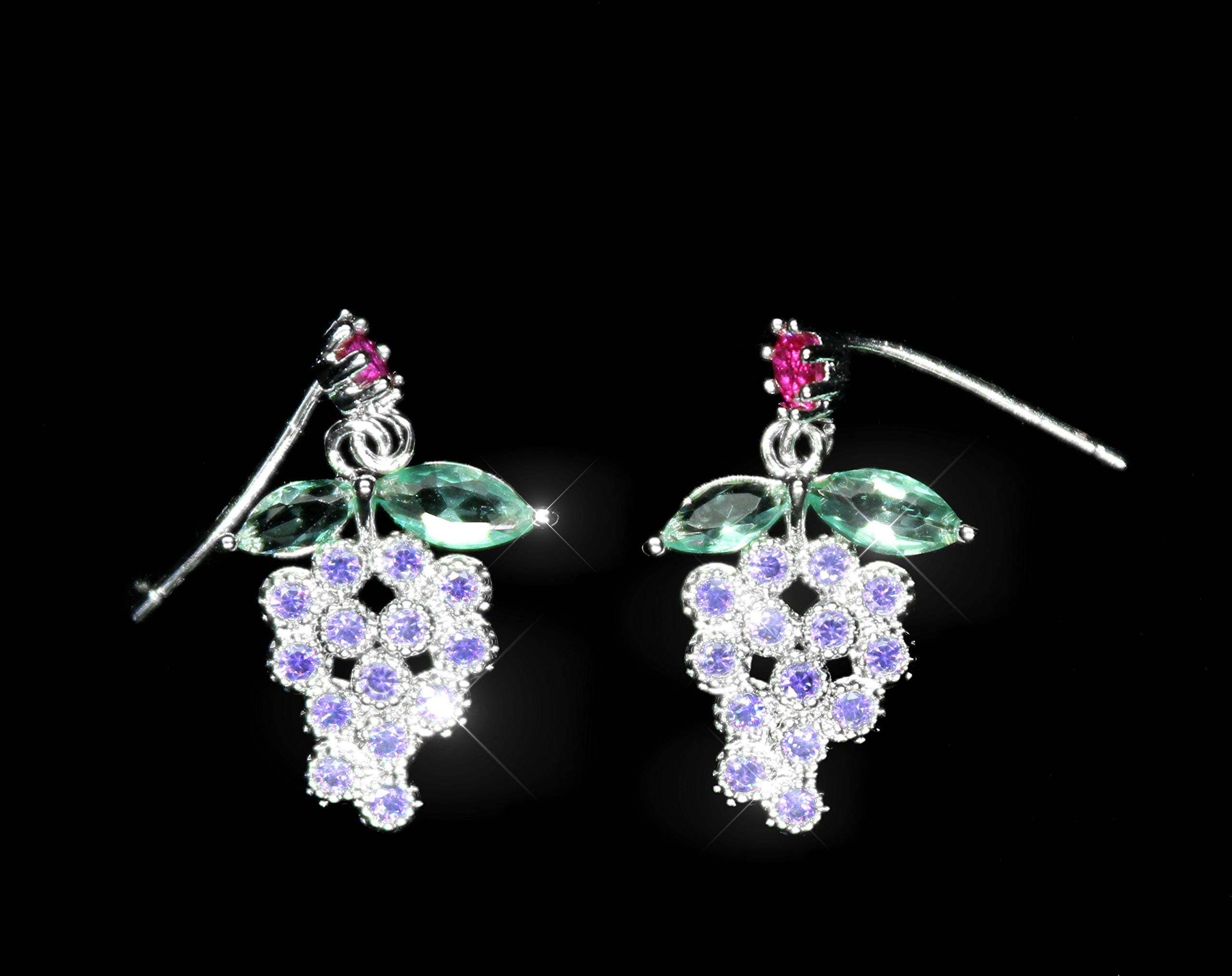 Goddess Area Elegant Silver Grape Earrings Necklace for Women Jewelry Beach Party Daily with Gift Box(Grape)
