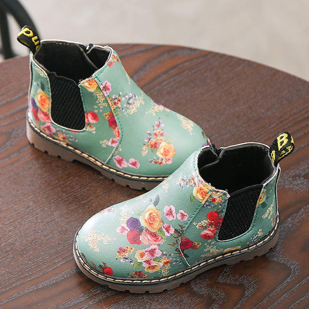 Anglewolf Children Fashion Boys Girls Sneaker Boots Autumn Winter Warm Thick Baby Kids Unisex Casual Floral Printing Zipper Up Shoes Leather Snow Shoes