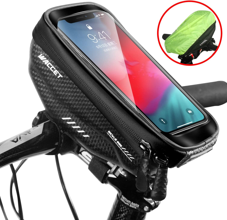 Bolsa Manillar Bici Impermeable Bolsa Tubo Bicicleta con Pantalla Táctil Bolsa Marco Bicicleta Bolsa Movil Bici para iPhone XS MAX/XR/X/8Plus Samsung S9/S8 hasta 6,5'' Smartphone