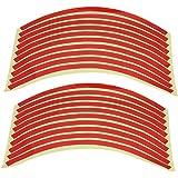 20x Stickers Autocollant PVC Liseret Jante Pneu Roue Rouge 10mm Pr Voiture Moto