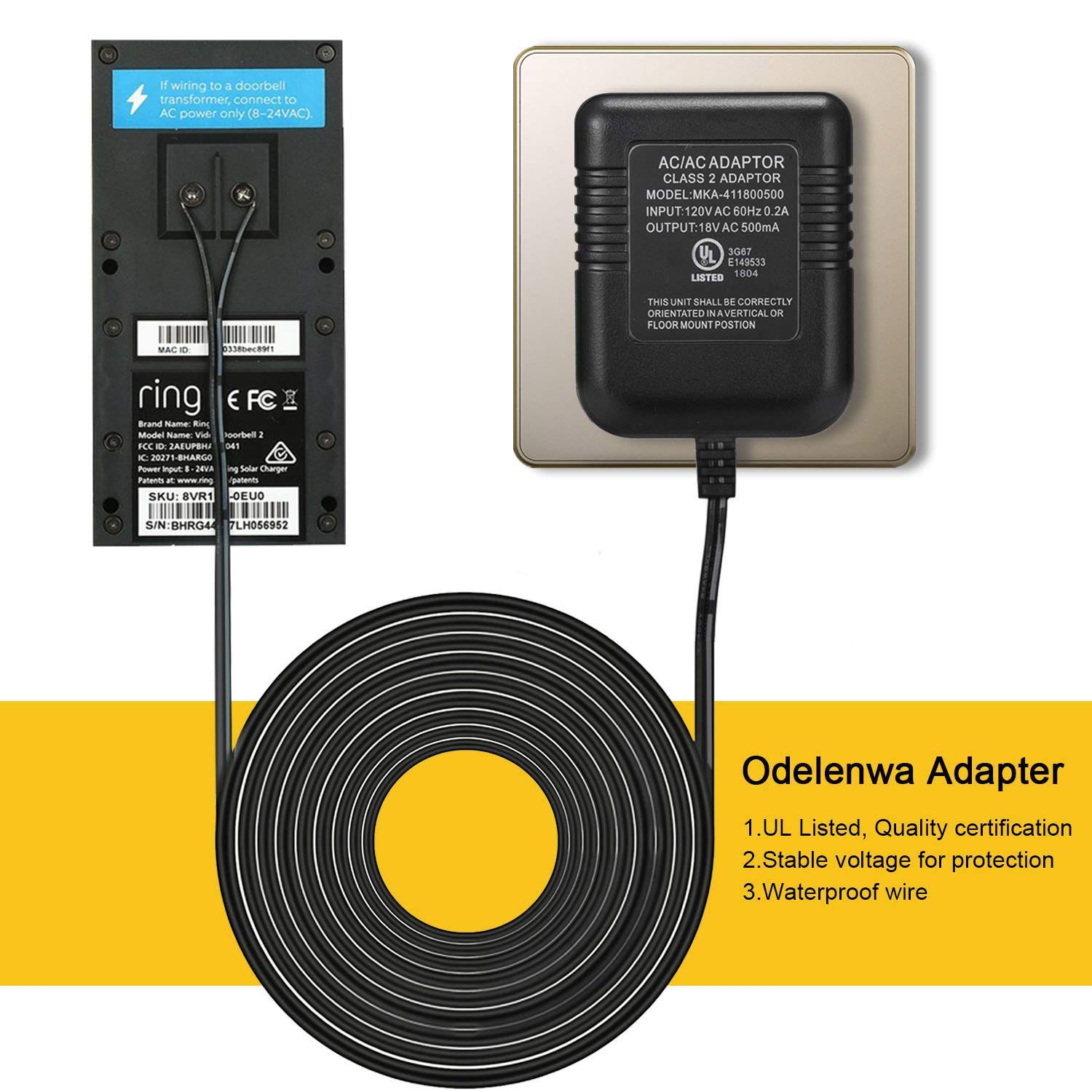Power Adapter for RING Doorbell, UL Certificated Power Supply for RING Video Doorbell, RING Video Doorbell 2 & RING Video Doorbell Pro Battery Charger by ODELENWA (Image #4)