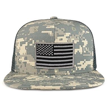 7a7e94af2ac Black Grey American Flag Iron on Patch Flat Bill Ripstop Trucker Mesh Cap -  ACU