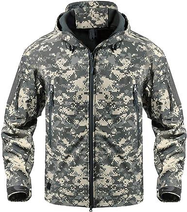 CRYSULLY Los hombres al aire libre escalada a prueba de viento táctico suave Shell chaqueta polar con capucha