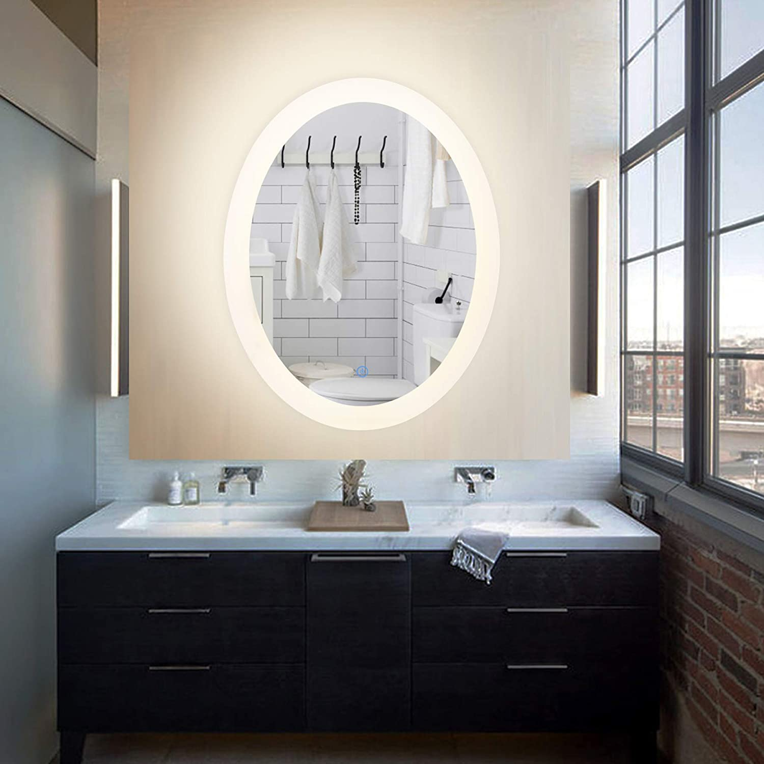 CO-Z Dimmable Backlit LED Bathroom Mirror, Plug-in Modern Oval Lighted Wall  Mounted Mirror with Lights&Dimmer, Contemporary Fogless Light Up Backlit  Touch ...