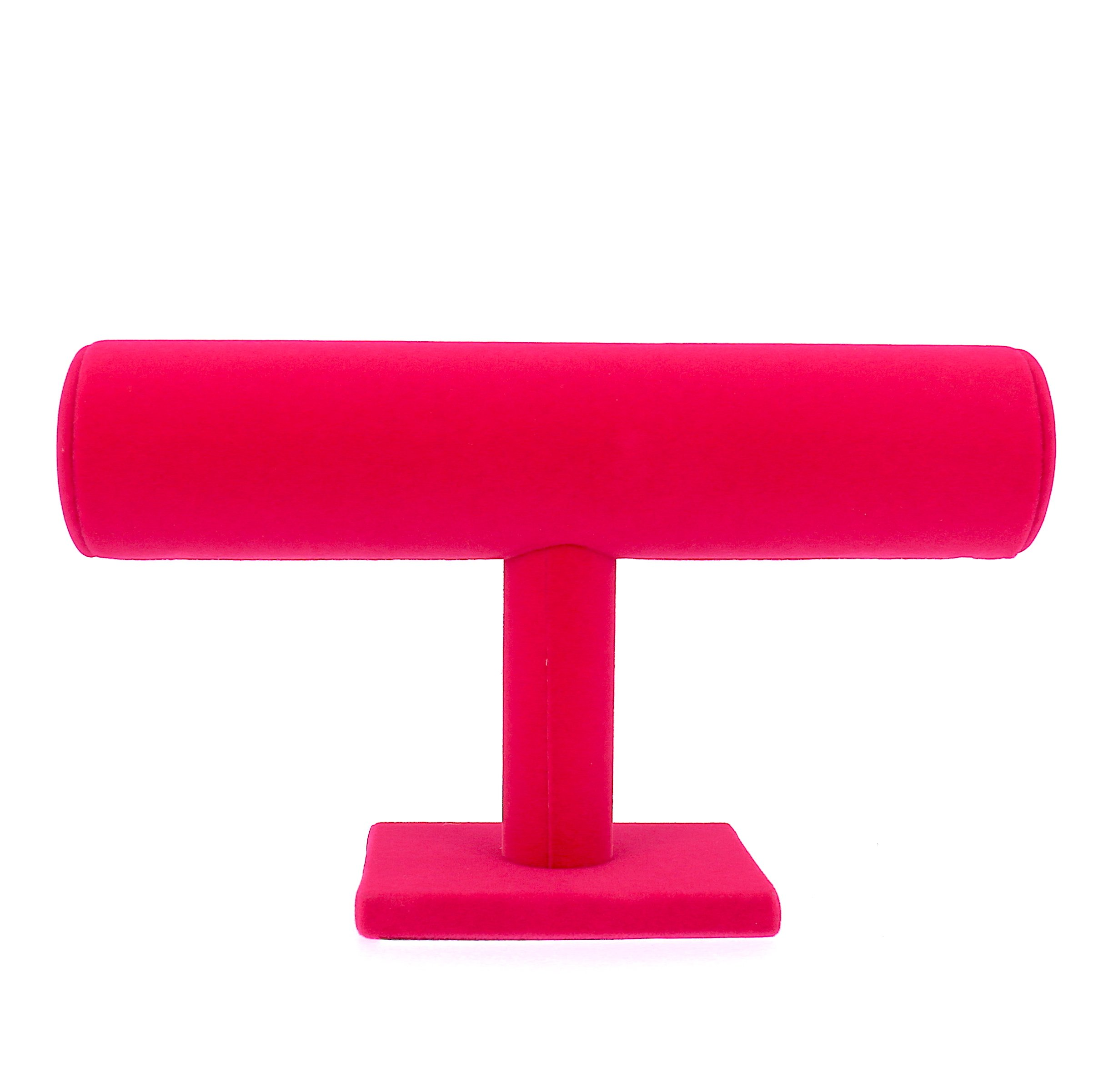 Pink Velvet T-Bar Jewelry Display Stand Hovering Bracelet Necklace Stoarge for Home Organization (1 Row)
