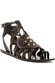 74d51666c9f Ivy Kirzhner Scrabby Black Leather Gold Studded Gladiator Flat Designer  Sandals