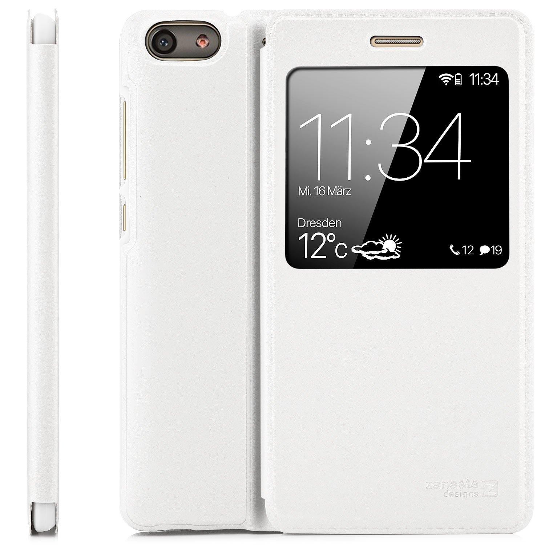 Huawei G Play Mini (CHC-U01) Case Protector Flip Cover [Zanasta Designs] Phone Wallet / View Flip Case with Window, High Quality Premium [Slim Profile] White