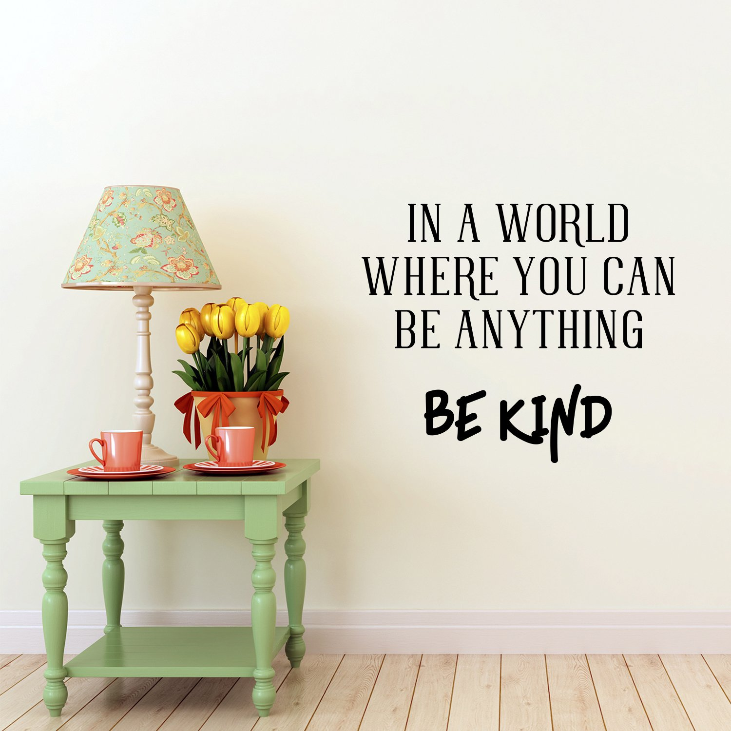 Vinyl Wall Art Decal - In A World Where You Can Be Anything Be Kind - 19'' x 23'' - Inspirational Decoration For Home Office Use - Motivational Indoor Outdoor Wall Waterproof Decor Stencil Adhesive