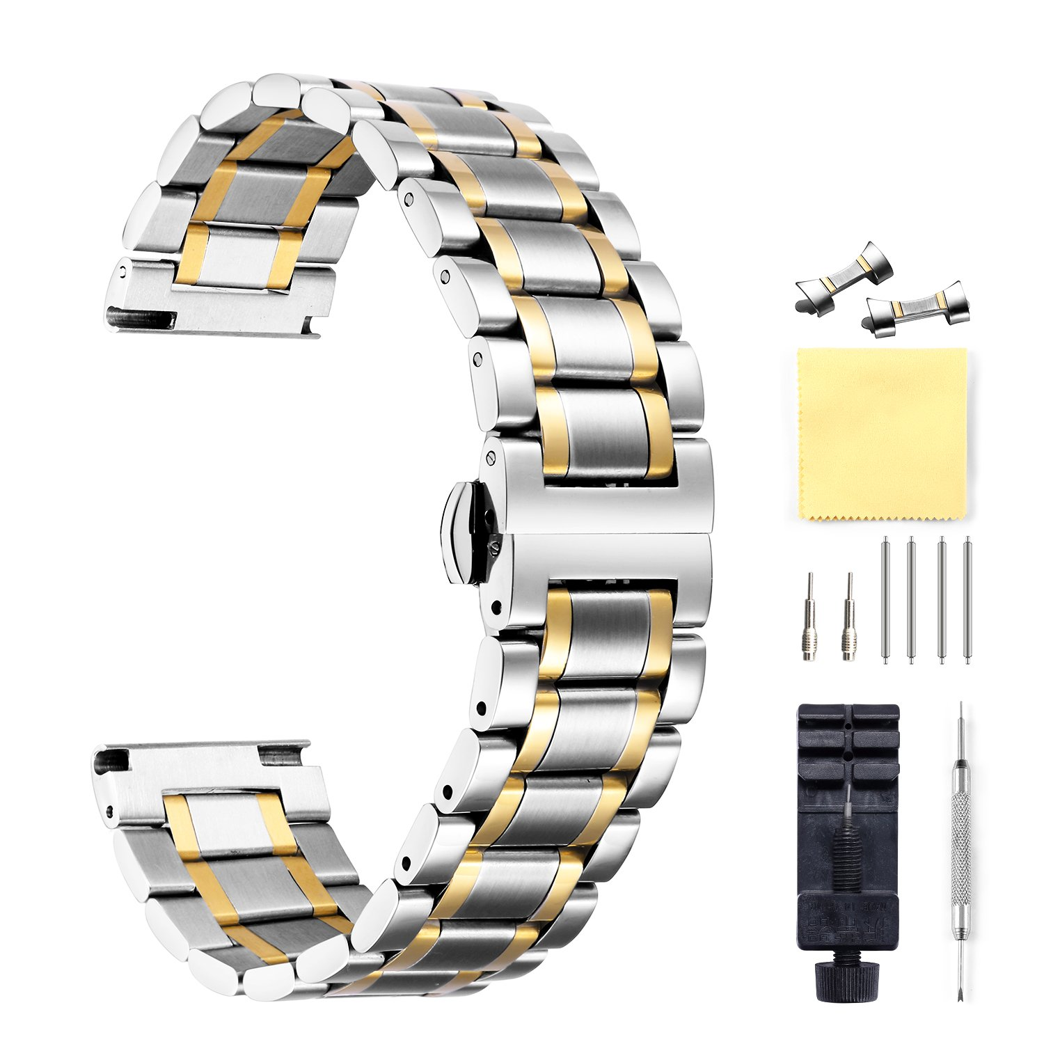 Stainless Steel Watch Bands with Straight & Curved End 5 Color(Gold, Sliver, Black, Rose Gold, Gold-Silver Two Tone) 9 Size(12mm to 24mm) by BINLUN