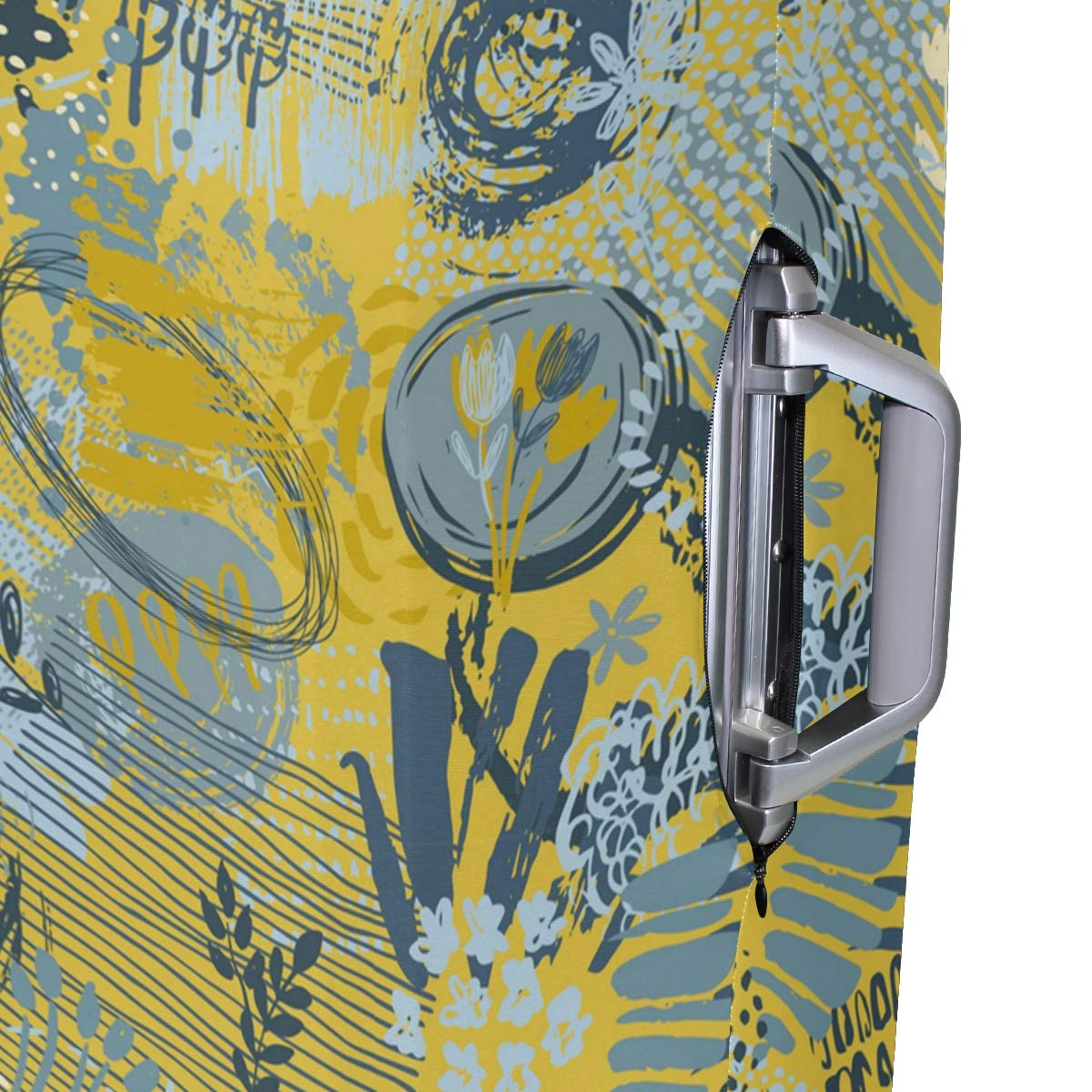 Hand Drawn Abstract Lavender Traveler Lightweight Rotating Luggage Protector Case Can Carry With You Can Expand Travel Bag Trolley Rolling Luggage Protector Case