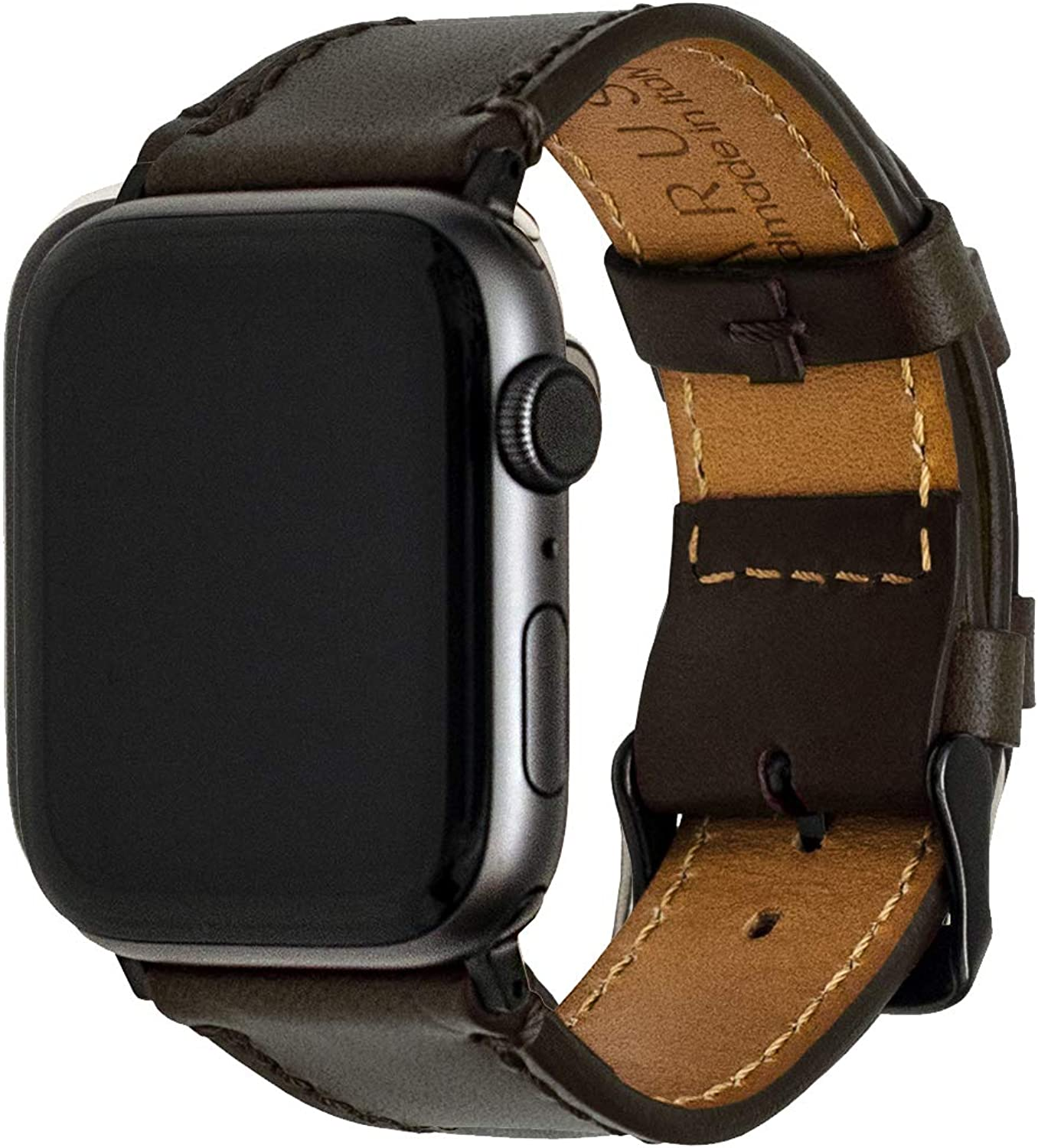 Maruse Leather Watch Band with Italian Vachetta Leather & Classic Buckle, Compatible with Apple Watch, Durable Chemical-Free Sustainable Leather Handmade in Italy