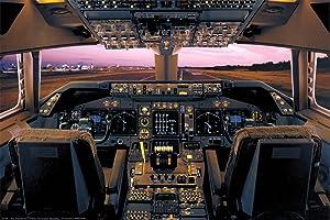 Picture Peddler Laminated Boeing 747-400 Flight Deck Poster 24x36