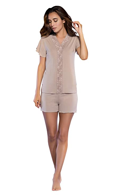 c7f832bc15 Women s Sleepwear Lightweight Super Soft Bamboo Short Lace Trim Pajama Set  - Made in Turkey at Amazon Women s Clothing store