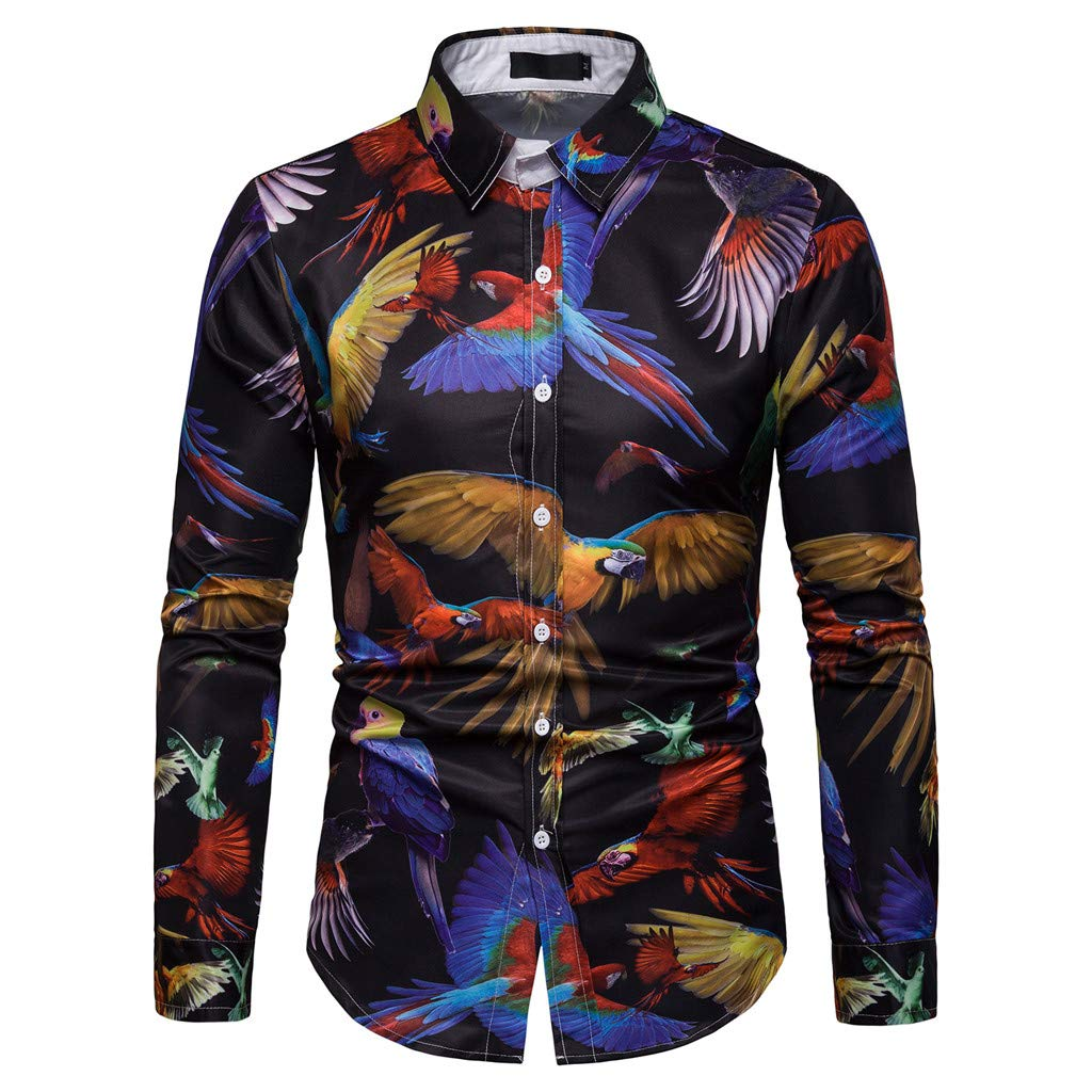 NUWFOR Men's Long Sleeve Graffiti Painting Large Size Casual Top Blouse Shirts(Multi Color,XL US Chest:47.2''