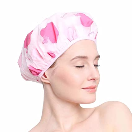 e8e9d4dbdeb FOK Unisex Synthetic Material Reusable Printed Shower Cap with Elastic Band  for Home Use Salons