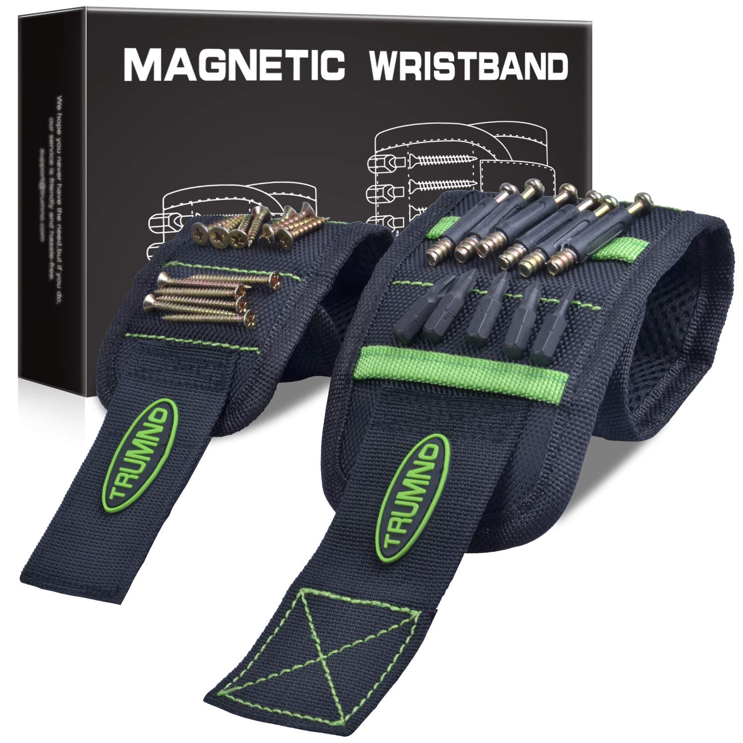 Trumno Magnetic Wristband for Holding Screws Tools Set of 2 Sizes Best Unique Christmas Gift for Husband Men DIY Handyman Dad Father Him Her Women Green