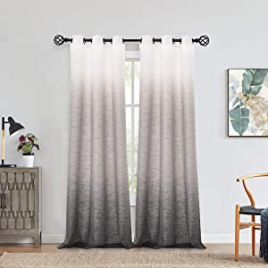 """Central Park Ombre Window Curtain Panel Linen Gradient Print on Rayon Blend Fabric Drapery Treatments for Living Room/Bedroom, Cream White to Gray, 40"""" x 84"""", Set of 2"""