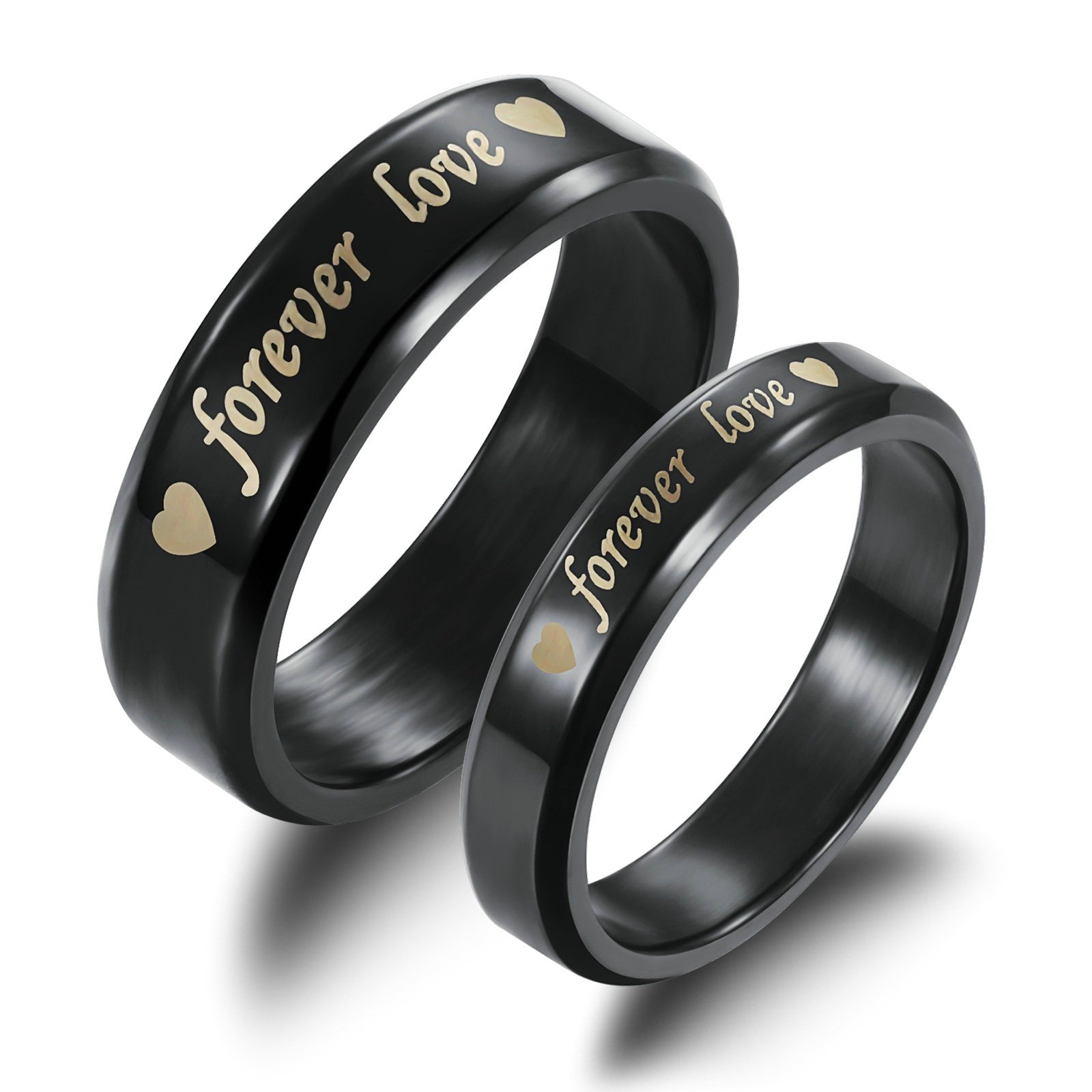 Aooaz Wedding Rings For Him And Her Black Heart Forever Love Rings With Your Laser Engraving Free Womens 6 & Men 9 Novelty Jewelry Gift