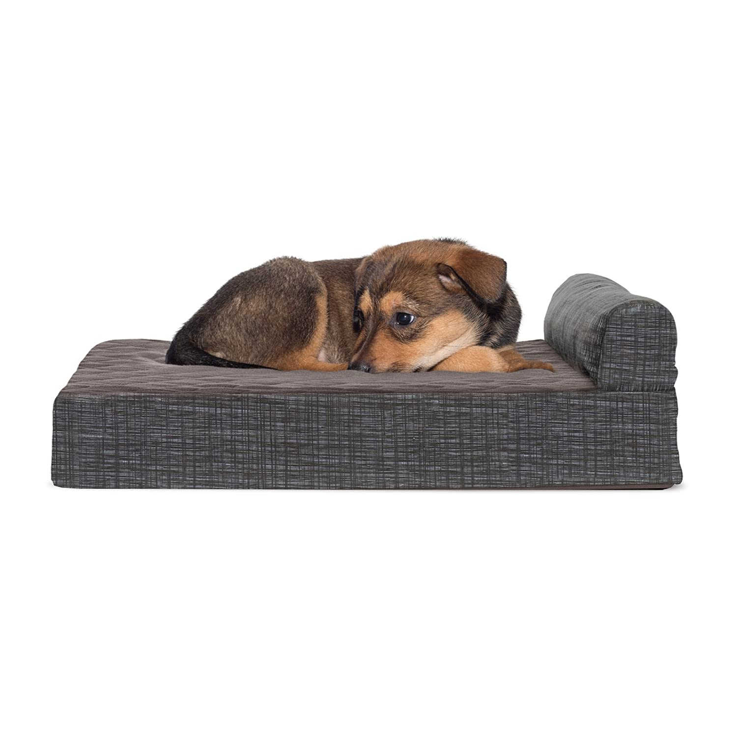 One Sided Fleece  Espresso SmallFurHaven Deluxe Orthopedic Chaise Couch Pet Bed for Cats and Dogs, Medium, Fleece Espresso