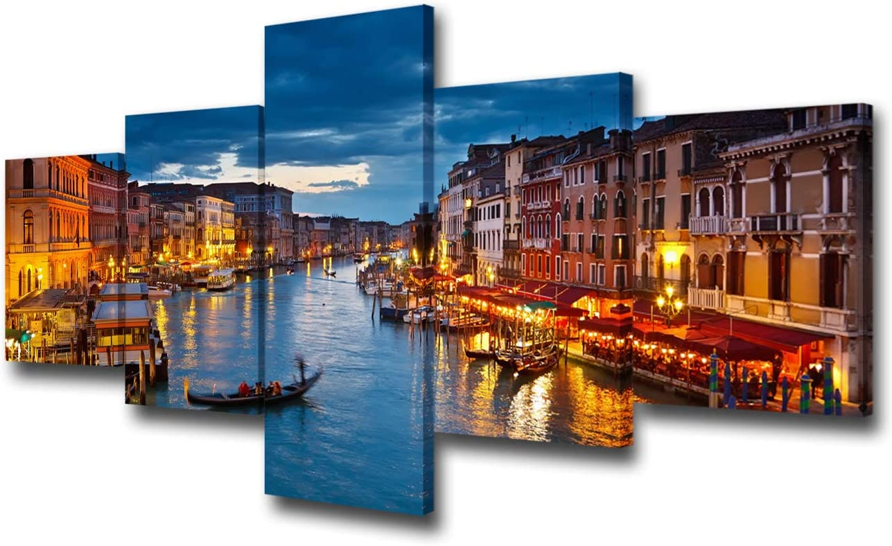"5 Panel Canvas Print Wall Art Painting For Home Decor View On Grand Canal At Night Venice Italy The Basilica Of St Mary Paintings Modern Giclee Stretched And Framed Artwork Ready to Hang - 50""W x 24""H"