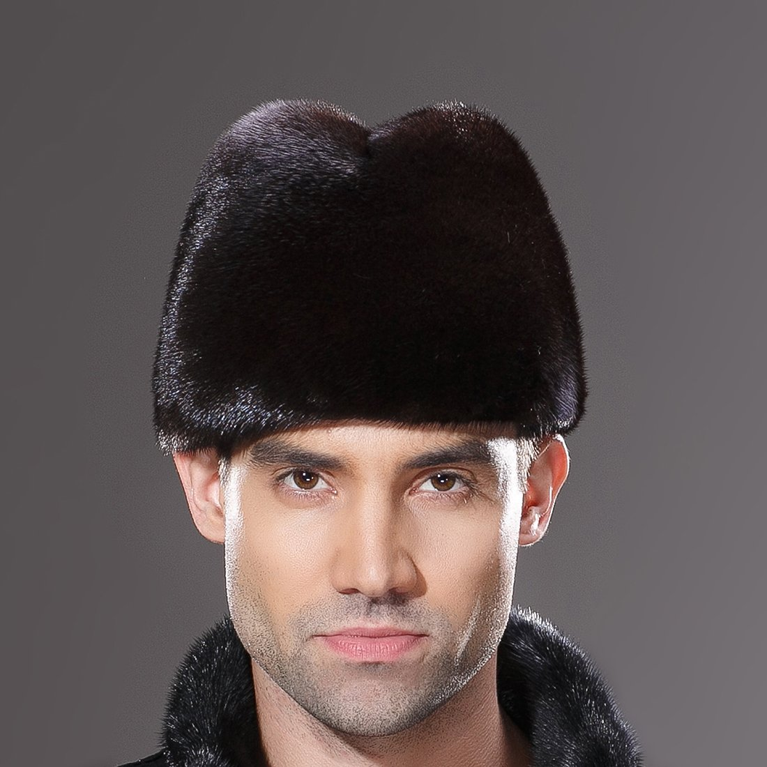 URSFUR Mens Winter Russian Cossack Hat Real Mink Fur Cap