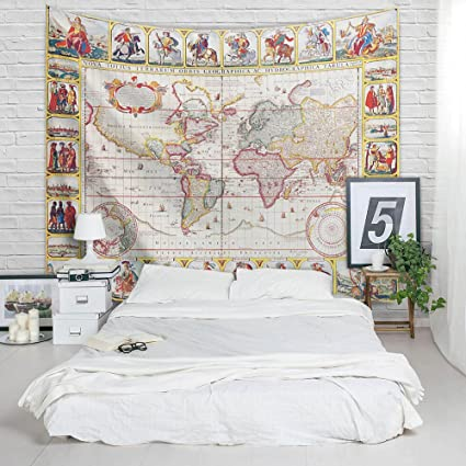 Amazoncom World Map Tapestry Vintage S World Imagination - Cloth world map wall hanging