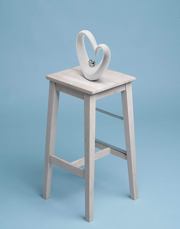 modernes Dekoherz 19 cm gro/ß in Wei/ß /& Silber Deko in Herzform gut als Geschenk-Idee geeignet stilvolles Keramik-Herz FeinKnick Stilvolles Herz zur Dekoration