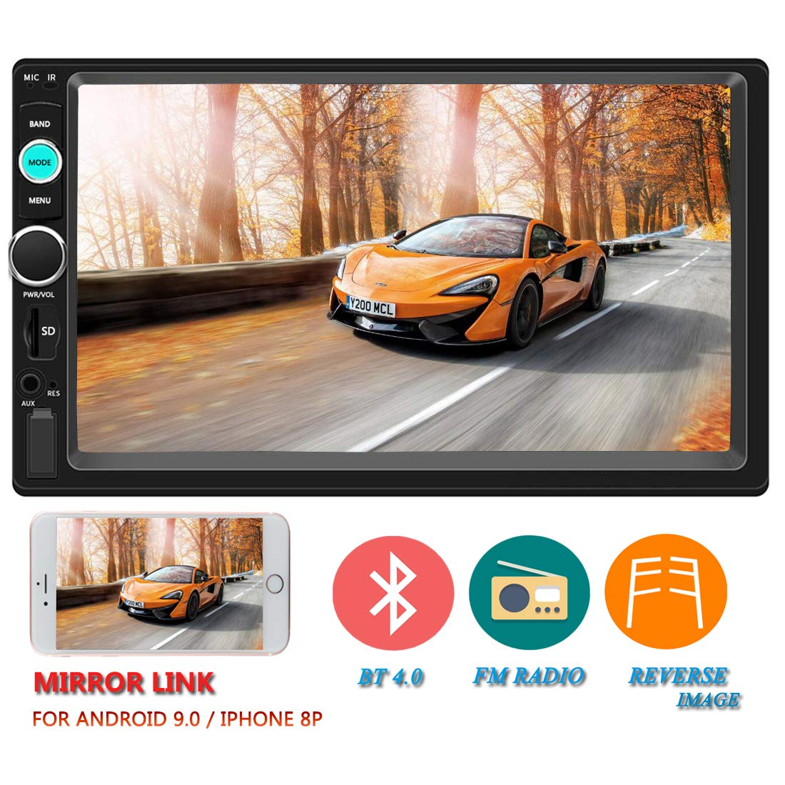 Upgraded Version Double Din Car Stereo 7 Inch Touch Screen in-Dash Head Unit MP5 Player USB FM Radio Car Audio Receiver Compatible with Bluetooth Support Backup Rear View Camera Mirror Link by IHOMKIT