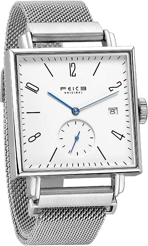 FEICE Reloj Automático Reloj Mecánico Automático Bauhaus Cristal Zafiro Reloj de Pulsera Mecánico Cuadrado con Fecha Ø34 mm - FM301