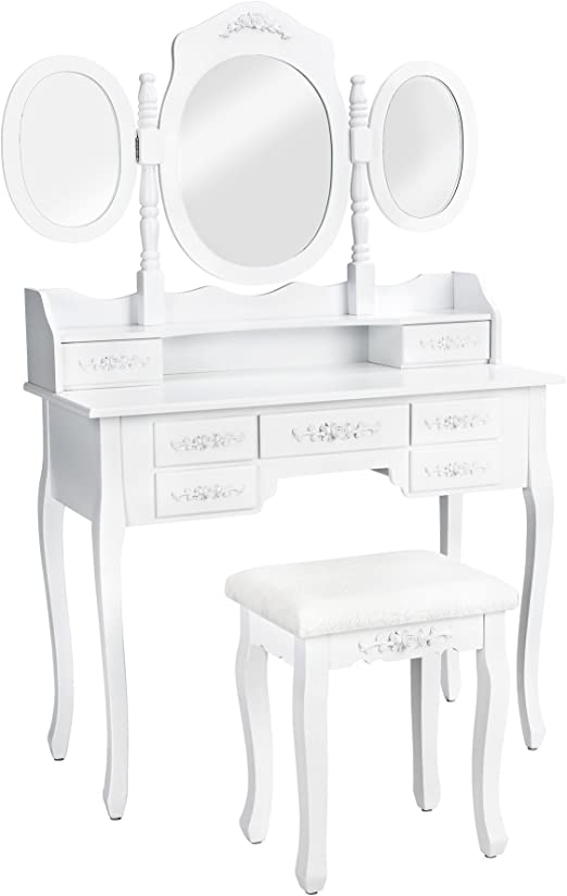 TecTake Mesa de Maquillaje tocador con Taburete | con 3 Espejos y ...