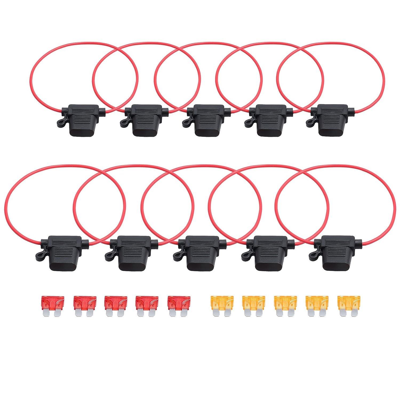 VinTeam 10 x Sicherungshalter fü r Flachsicherung PKW Auto MA1140 KFZ-Sicherungen Kabel MTAT512de