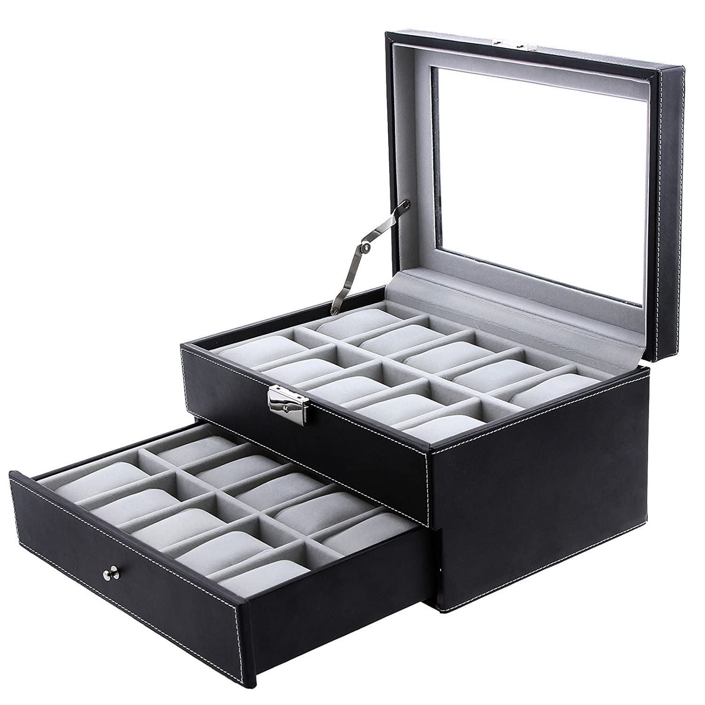 SONGMICS Watch Box 20 Mens Case Glass Top Black and Gray Display Organizer Lockable UJWB006