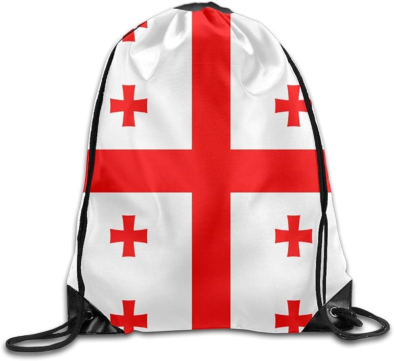 Georgian Flag Cute Gym Drawstring Bags Travel Backpack Tote School Rucksack