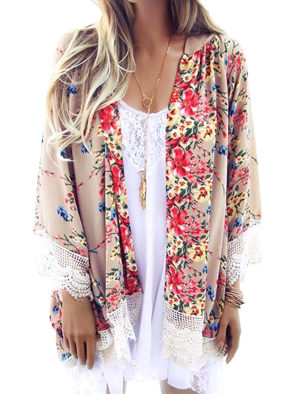 Frauen Blumenmuster Chiffon Cardigan Kimono Cover-up Bluse Strandkleid Jäckchen