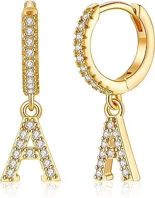 925 Sterling Silver Post 14K Gold Plated Cubic Zirconia Dangle Hoop Earrings Hypoallergenic Small Hoop Letter Toddler Earrings for Kids Teen Girls Initial Earrings for Women Girls