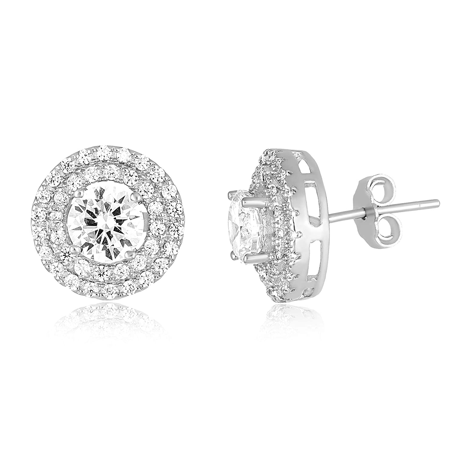 Mia Sarine Round Cubic Zirconia Double Halo Bridal Stud Earring for Women in Rhodium Plated Sterling Silver