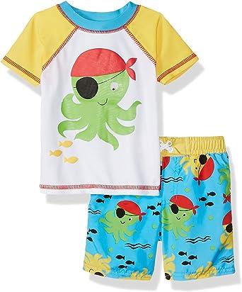 Sol Swim Boys Short Sleeve 2-Piece Rashguard Swimsuit Set Swimwear for Kids