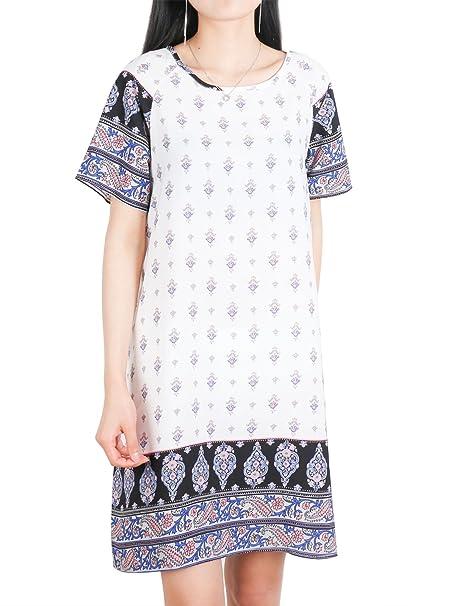 Túnica Mujer,DSUK Camiseta de Manga Corta Escote Redondo Vestido Boho Camiseta de Estilo Sexy